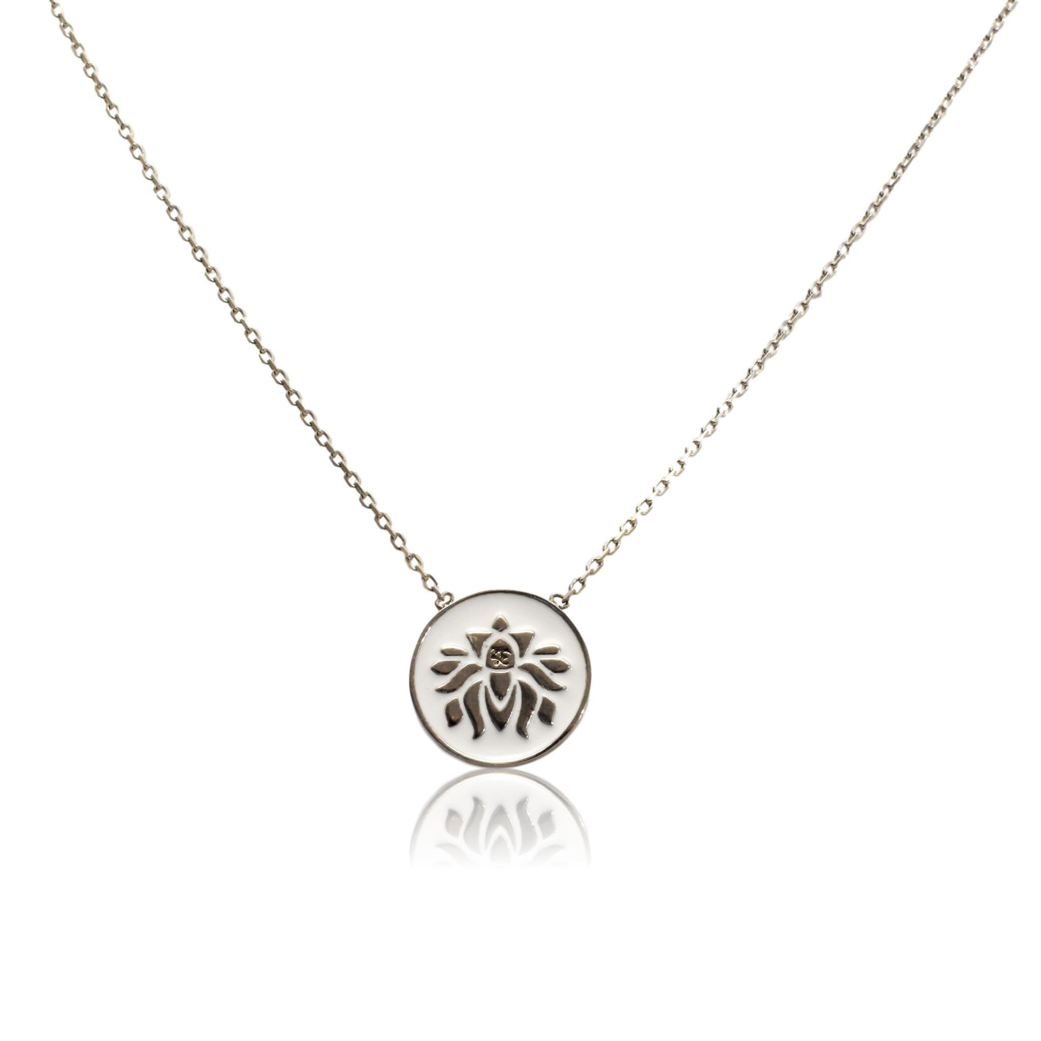 Enamel Lotus Flower Necklace Moho Silver